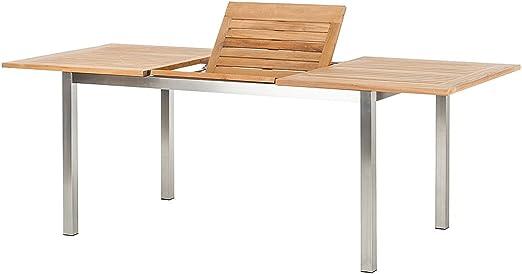 Lagos Mesa extensible de teca y acero inoxidable para el jardín, 150/210 x 90 x 75 cm, madera de teca de gran calidad: Amazon.es: Jardín