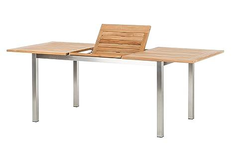 Lagos tavolo allungabile in teak e acciaio inox 150 210 x 90 x 75