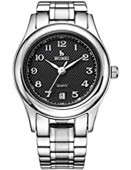 BUREI Womens Classic Quartz Casual Watches with Black Dial Date Calendar Scratch Resistant Window Metal Band (...