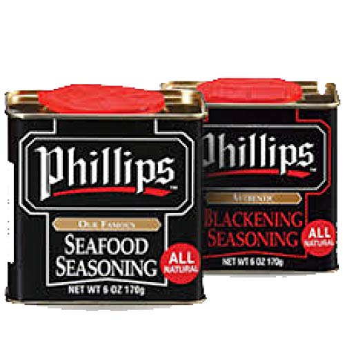 Combo Pack of Phillips Seafood Seasoning & Blackening Seasoning 2 Pack Bundle used in Phillips Seafood Restaurants