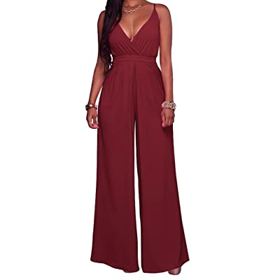 SELX Womens V-Neck Spaghetti Strap Backless Wide Leg Solid Jumpsuit