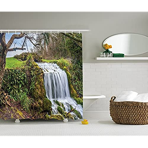 peaceful ideas waterfall showers. Nature Shower Curtain Rainforest Decor by Ambesonne  Waterfall in a Forest of Green Tree Branches Vibrant Art Prints Scenery Polyester Fabric Bathroom Sound Amazon com