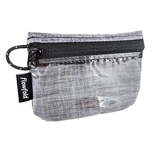 Mini Zip ID Case & Coin Purse - Zipper Pouch Wallet with Clear ID Sleeve - Made in USA - Heather Grey