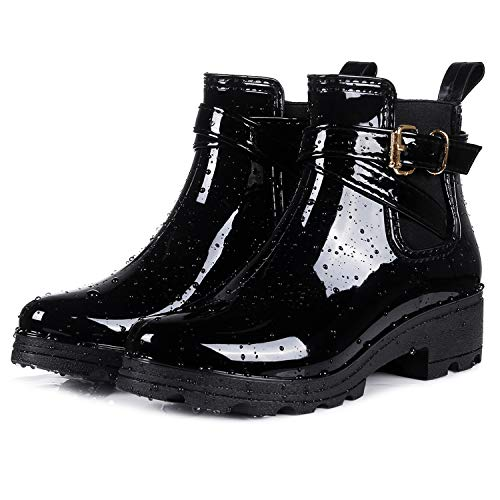 - smiry Women's Short Rain Boots Glossy Waterproof Platform Slip On Ankle Boots Elastic Chelsea Booties Black