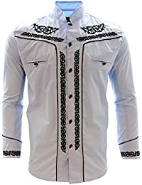 Mens Charro Shirt Camisa Charra Western Wear Baby Blue Long Sleeve