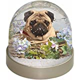 Fawn Pug Dog in a Basket Photo Snow Globe Waterball Stocking Filler Gift by Advanta - Snow Globes