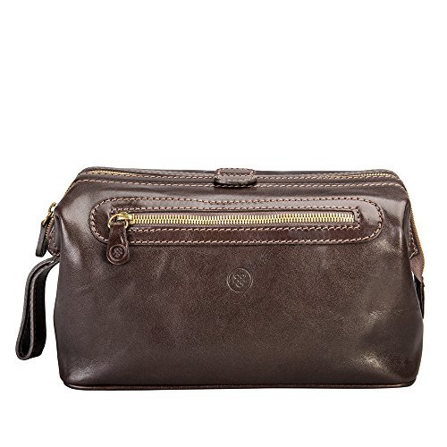 Maxwell Scott Personalized Luxury Brown Toiletry Bags (The DunoL) - Large by Maxwell Scott Bags
