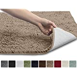 """Asien The Original Shaggy Chenille Bathroom Rug Mat, 3 Sizes and 10 Colors, Extra Soft and Absorbent, Machine-Washable, Perfect for Bath, Tub, and Shower (Beige, 30"""" x 20"""")"""