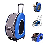 ibiyaya 4 in 1 Pet Carrier + Backpack + CarSeat + Carriers on Wheels for dogs and cats (Blue)