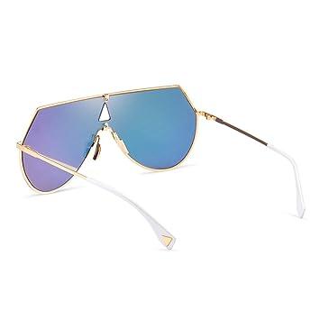 ZQ New One Frame Gafas de Sol Azules Personalidad Europa y ...