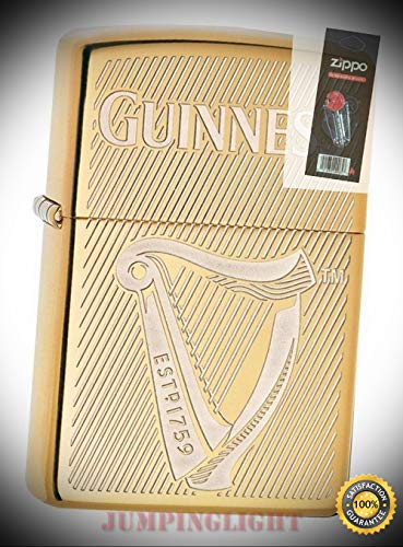 29651 Guinness Beer High Polish Brass Finish Lighter with Flint Pack - Premium Lighter Fluid (Comes Unfilled) - Made in USA!