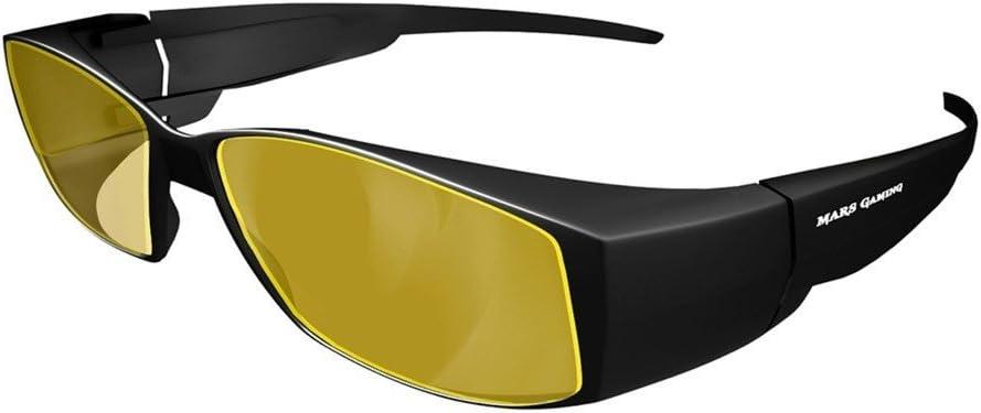 Mars Gaming MGL2 - Gafas protectoras para gaming (diseño robusto y deportivo, cristal amarillo, lentes de policarbonato, filtro luz azul, aptas para usarse sobre gafas graduadas) color negro