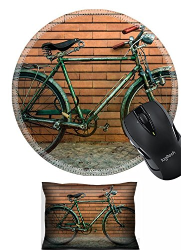 Liili Mouse Mouse Wrist Rest and Round Mousepad Set, 2pc Wrist Support IMAGE ID 33279108 Vintage bicycle against a wall