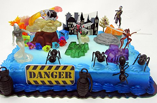 ANT-MAN Deluxe Birthday Cake Topper Set Featuring Ant Man Figures and Decorative Themed Accessories by Cake Toppers