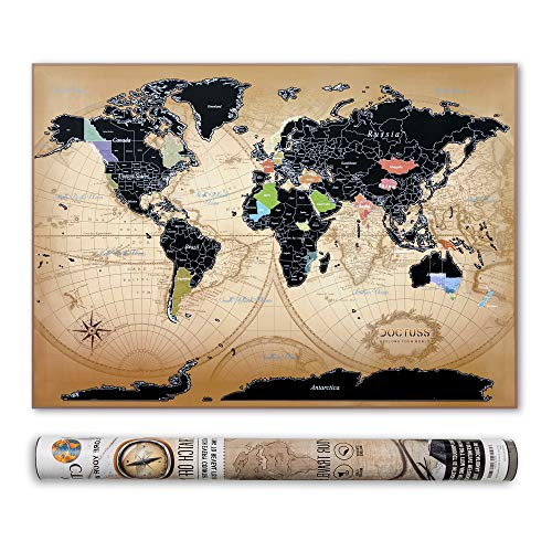 Scratch Off World Map by Doctuss | Travel Map | Detailed Wall Poster Witch US and Canada Divided by States | Kit with Pins, Scratchers, Flag Stickers | Vintage Design | Large Size 33x23 inches