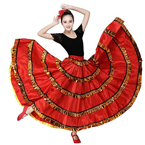 Women Red Belly Dance Dress Spanish Flamenco Costume