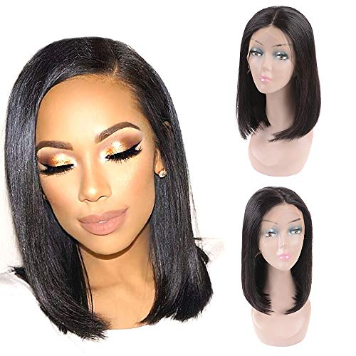 Gabrielle Hair 14 Inch Straight Bob Wig Lace Front Human Hair (13x4-150% Density- Natural Black) Pre Plucked with Baby Hair Brazilian Remy Human Hair Bob Straight Lace Frontal Wigs]()