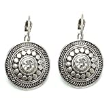 Mehrunnisa Oxidized Silver Tone Round Shape With Crystal Drop Earrings For Girls (JWL903)