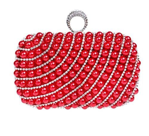 à Dames à Pochette Diamante Sac Red Femmes Perle Cadeau à Glitter Mariage Soirée Pour Antique Clubs Bandoulière Nuptiale Main Sac Main Prom Sac 4xRwO