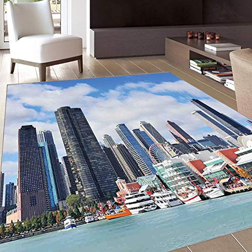 Rug,FloorMatRug,Chicago Skyline,AreaRug,Cloudy Sky on City Contemporary Downtown States Country Office Panorama,Home mat,2'x3'Multicolor,RubberNonSlip,Indoor/FrontDoor/KitchenandLivingRoom/Be
