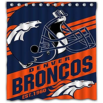 Potteroy Denver Broncos Team Stripe Design Shower Curtain Waterproof Mildew Proof Polyester Fabric 66x72 Inches