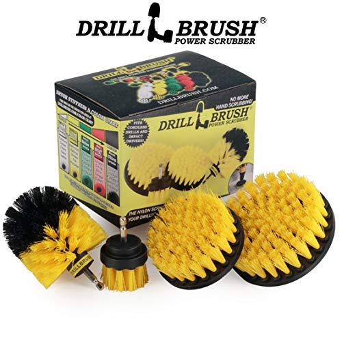 Drillbrush 4 Piece Nylon Power Brush Tile and Grout Bathroom Cleaning Scrub Brush Kit - Drill Brush Power Scrubber Brush Set - Power Scrubber Drill Brush Kit- Power Brush Drill Attachment