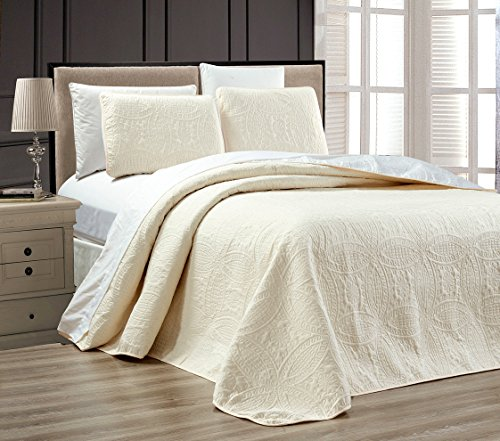 """UPC 730699503031, 2-Piece WHITE / IVORY Oversize """"ORNATO"""" Reversible Bedspread TWIN / TWIN XL Embossed Coverlet set 90 by 68-Inch"""