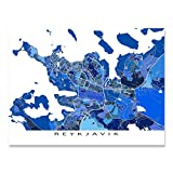Reykjavik Map Print, Iceland, Blue City Artwork Poster