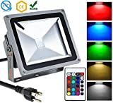 Techno Earth Remote Control RGB LED Flood Lights, Color Changing LED Security Light, 16 Colors & 4 Modes, Waterproof LED Floodlight, US 3-Plug, Wall Washer Light 30W