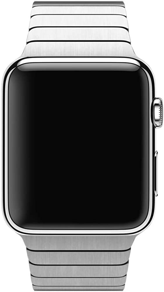 Smartwatch Metal Band Stainless Steel Compatible for Apple Watch Series 3/2/1 (42mm) Serie 6/5/4(44mm) Butterfly Clasp Business (Silver)