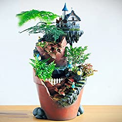 Fairy Garden Planter Pot Succulents Flower Container Creative Vertical Broken Bucket Stump Style Holder Decoration Bonsai with Mini LED Solar Lighting Sweet House (City of Sky) No Plants