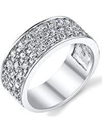 Sterling Silver Men's Wedding Band Engagement Ring With Cubic Zirconia CZ 9MM 3 Row Sizes 7 to 13