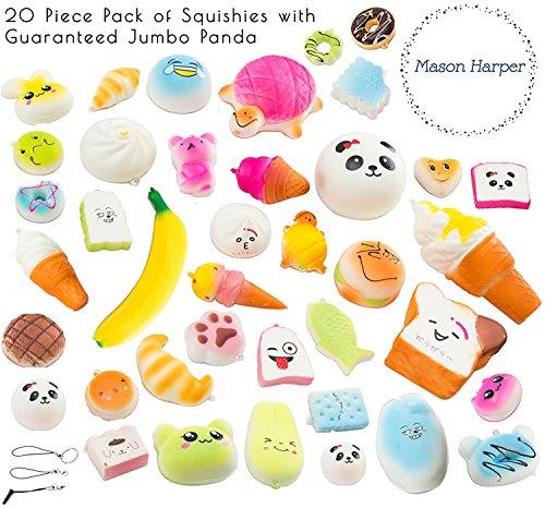 MasonHarper Random 20 Pack of Slow Rising Kawaii Squishies (Jumbo, Medium & Mini Soft Squishy Toys), Variety of Panda, Buns & Cake Squishies, Straps for iPhone & Android Headphone-Jack, Stress Relief