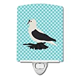 Caroline's Treasures Saxon Fairy Swallow Pigeon Blue Check Ceramic Night Light, 6 x 4'', Multicolor
