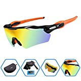 DUCO POLARIZED Sports Sunglasses Cycling Glasses With 5 Interchangeable Lenses 0028 Black-Orange
