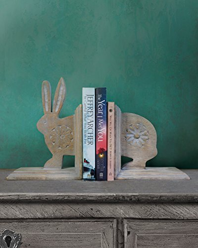 Store Indya Wooden Book Ends Handcrafted CD DVD Stand Rack Shelf Decorative Display Pair Bookend for Bookshelf Holder Home Office School Library Desk Tabletop Organizer (Rabbit Collection)