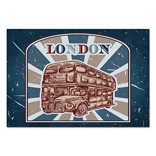 Large Wall Mural Sticker [ Vintage,Label with English Bus on Grunge Background Retro Hand Drawn Sketchy Artwork,Blue Red Beige ] Self-adhesive Vinyl Wallpaper / Removable Modern Decorating Wall Art