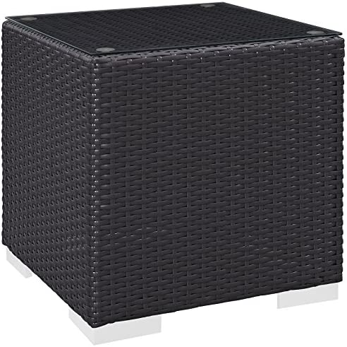Modway Convene Wicker Rattan Outdoor Patio Side Table in Espresso