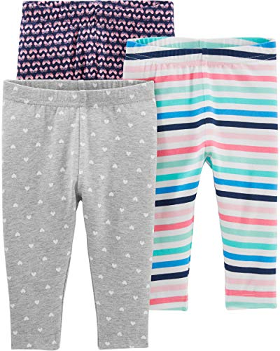 Simple Joys by Carter's Baby Girls' Toddler 3-Pack Leggings, Gray/Navy/Multi Stripe, - Pant Stripe Girls