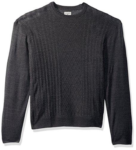 Dockers Men's Big and Tall Crewneck Soft Acrylic Long Sleeve Sweater, Black Marl, 2X-Large Tall -