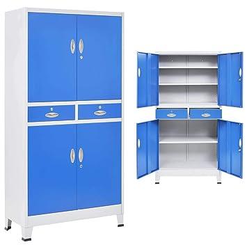 Festnight- Archivador de Oficina Armario Taquilla con 4 Puertas Metal con 3 Estantes Ajustables 90x40x180 cm Gris y Azul: Amazon.es: Juguetes y juegos