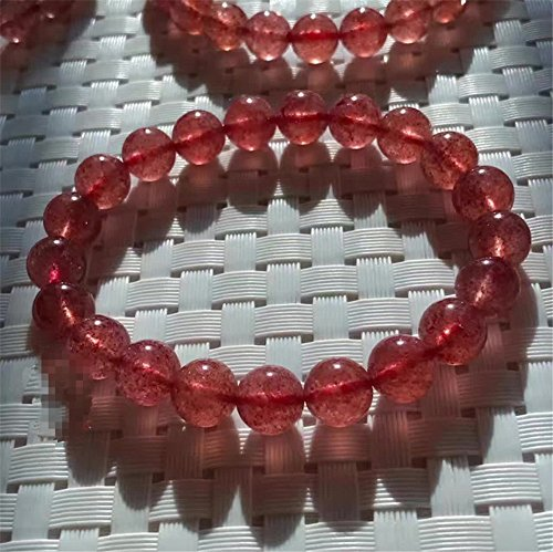 Mimeier 8-14mm Natural Strawberry Quartz Round Bracelet Beads Strand, Grade AAA (066CS) (14mm)