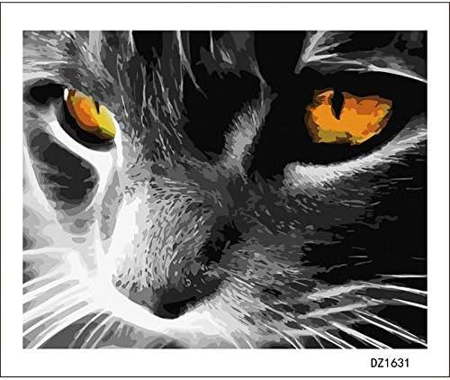 ブラックホワイトBear猫動物DIYデジタル絵画による数字現代の壁アートキャンバス絵画ユニークなギフト家の装飾40x50cm