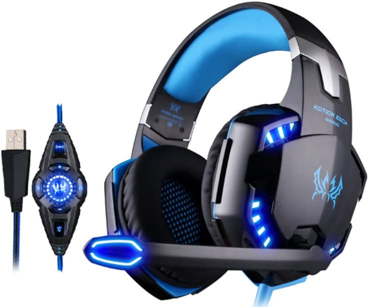 KOTION EACH G2200 PC Gaming Headset USB 7.1 Surround Sound Vibration Game Gaming Headphone Computer Headset Earphone Headband with Microphone LED Light Black-Blue