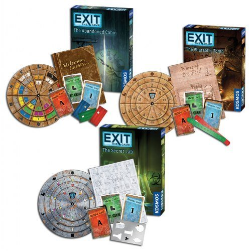 Thames & Kosmos Exit the Game Bundle of 3: The Secret Lab, The Abandoned Cabin, and The Pharaoh's Tomb