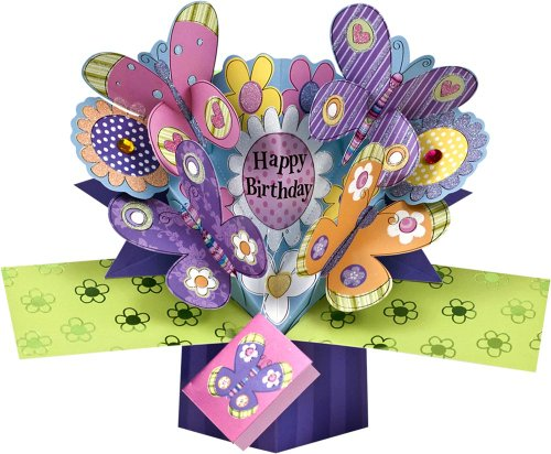 THE ORIGINAL POP UPS - 003 - FLOWERS & BUTTERFLIES BIRTHDAY CARD
