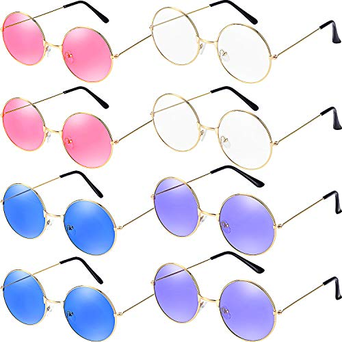 Bememo 8 Pairs Round Hippie Sunglasses Retro Party Sunglasses John 60's Style Circle Glasses for Party Prop Favors, Decorations, Toy Gifts -