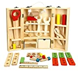 Lewo Wooden Tool Box and Accessories Set Pretend Play Kit Educational Construction Toys for Kids