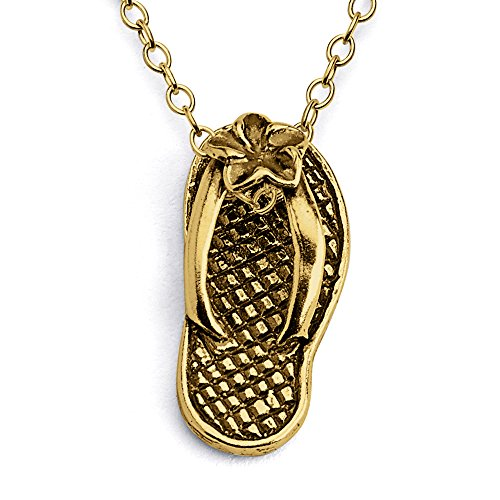 Azaggi Gold Plated Sterling Silver Handcrafted Hawaiian Slipper Pendant Necklace (20)