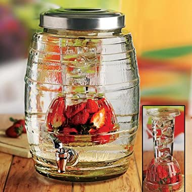 Circleware Nostalgia Barrel Shaped Glass Beverage Drink Dispenser with ICE Insert, Fruit Infuser and Metal Lid, HUGE 3.14 Gallon Capacity
